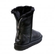 Short Zip Leather Black