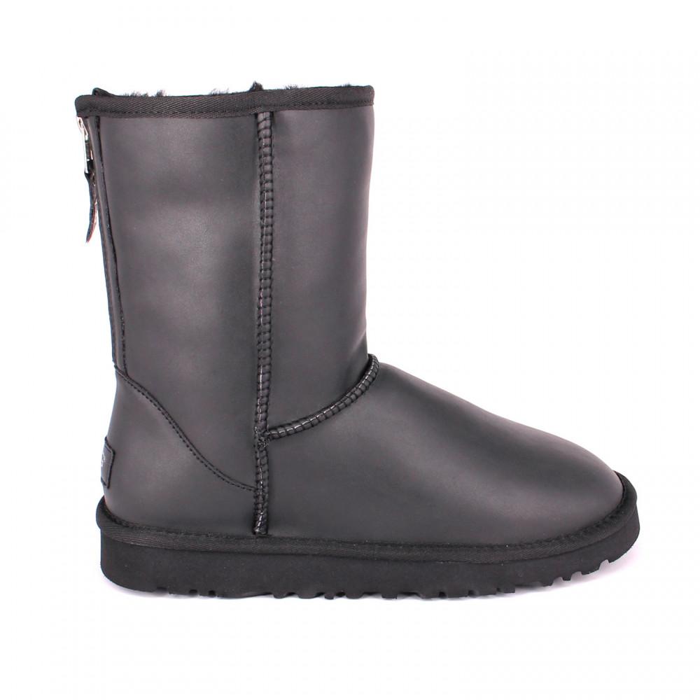 Mens Short Zip Leather Black